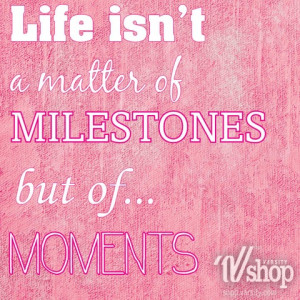 Life isn't a matter of milestones but of...MOMENTS.