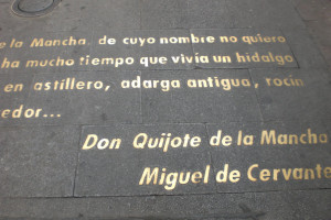 famous literary quotes on the ground outside Miranda)