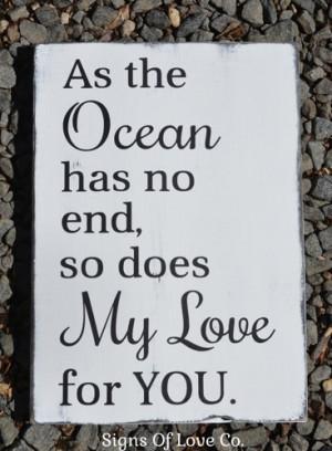 Beach Sign Nautical Nursery Decor Beach Weddings Ocean Love Quote Wood