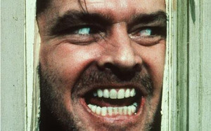 Jack Nicholson, portraying 'Jack Torrance' in the movie 'The Shining ...
