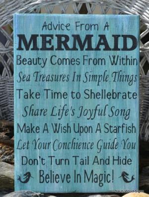 Beach Wooden Signs, Beach Decor, Girls Gift Idea, Mermaid Poem Quote ...