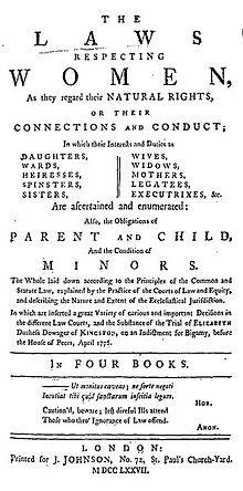 Laws Respecting Women (1777), utgitt av Johnson, og hjalp Mary ...