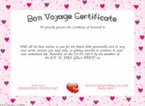 Bon Voyage Certificate