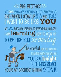 Big Brother Poem Saying Quote with Knight Instant Download Printable ...