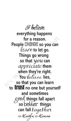 Marilyn Monroe Quote I Believe Everything happens for a reason Vinyl ...