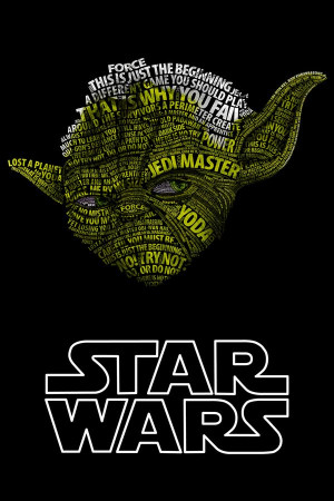 Star Wars poster of famous quotes/phrases from the franchise in the ...