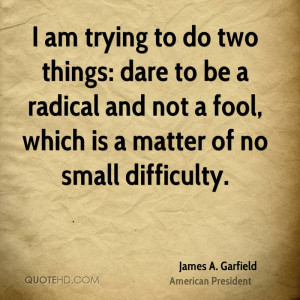am trying to do two things: dare to be a radical and not a fool ...