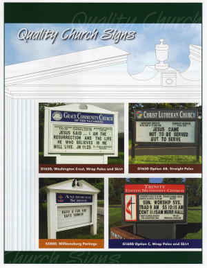 Check out our church sign and bulletin board brochure below:
