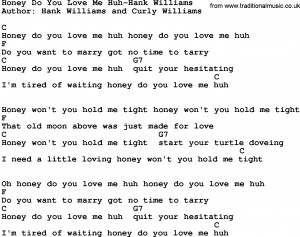 Country music song: Honey Do You Love Me Huh-Hank Williams lyrics and ...