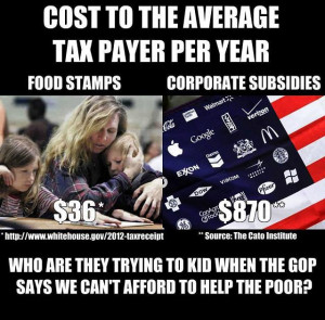 ... taxpayer $870 per year; foodstamps cost the average taxpayer $36 per