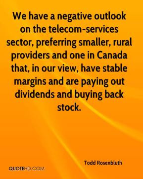 We have a negative outlook on the telecom-services sector, preferring ...