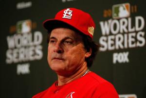 Tony LaRussa Manager Tony La Russa of the St Louis Cardinals talks to