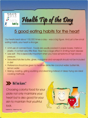 Health Tips - 5 Good eating habits for the heart...