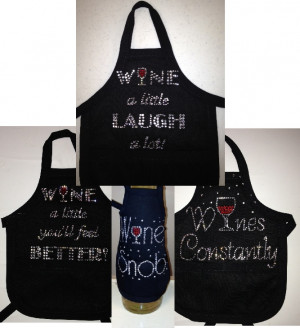 Wine Bottle Aprons - Wine Sayings
