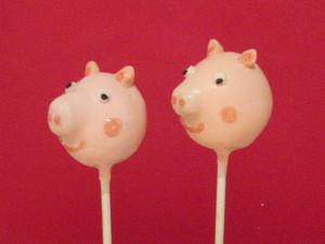 peppa pig cake pop