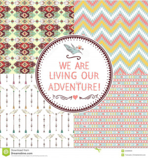 set of seamless geometric pattern in aztec style and quotes ...
