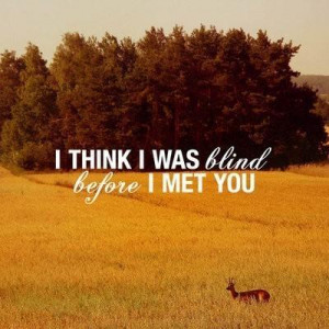 think I was blind before I met you