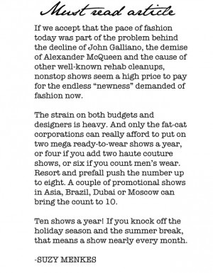Must Read: Suzy Menkes addresses the current problems with the fashion ...