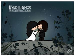 aragorn, arwen, cute, lord of the rings, lotr, love, senhor dos aneis