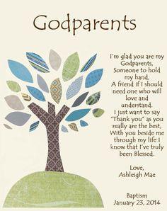 ... for Godparents Godfather or Godmother Gifts Godparent Baptism or