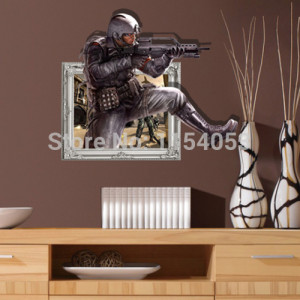 Gun-Man-Cool-3D-Wall-Decal-Stickers-for-Home-and-Office-Art-Wall ...