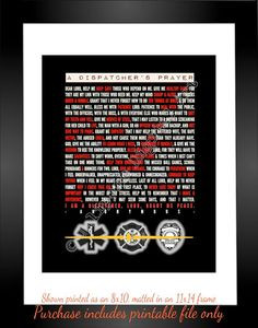Dispatcher's Prayer 911 Dispatcher Gift / 911 Dispatcher Quote Thank ...