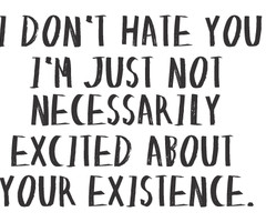 ... Just Not Necessarily Excited about your Existence ~ Enemy Quote