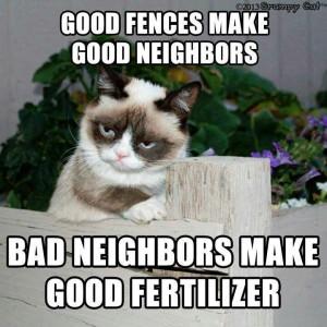 . Bad neighbors make good fertilizer. Grumpy catFence, Cat Quotes ...