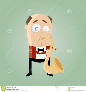 Illustration d'un joueur de saxophone drôle.
