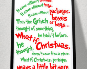 SALE *ONE LEFT* Dr. Seuss Grinch Qu ote-The Meaning of Christmas ...
