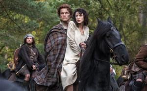 Outlander: Sam Heughan as Jamie Fraser and Caitriona Balfe as Claire ...