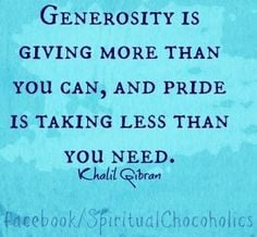 Generosity quote via www.Facebook.com/SpiritualChocoholics
