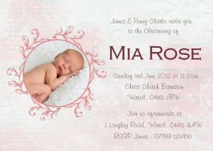 Printable Baby Girl Christening Baptism Invitation/Invite Card DIGITAL ...