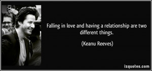 Falling in love and having a relationship are two different things ...