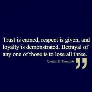 Trust, respect, and loyalty quoteLoyalty Quotes, Quotes ...