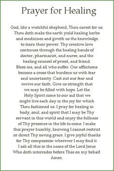 Prayer Quotes For Healing | CFC - Cluster 2 Chapter D: PRAYER FOR ...