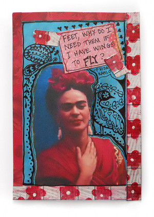 frida kahlo postcard paper collage quote original mixed media quotes