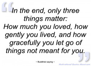 in the end buddhist saying