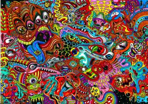 psychedelic art color detail dark monsters wallpaper background