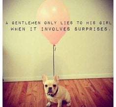 ... only lies to his girl when it involves surprises! Love quotes