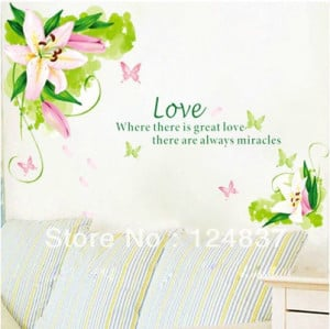 60cm-90cml-Lily-flower-Wall-Stickers-quotes-sticker-butterflies ...