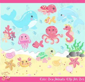 Cute Little Sea Animals Clip Art Set perfect for all kinds of creative ...