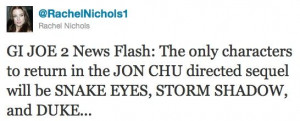 Rachel Nichols GI Joe 2 Casting Tweet G.I. Joe 2 Cast Gets Trimmed