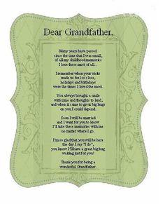 ... grandfather poem the bride memories handkerchiefs poem card cards