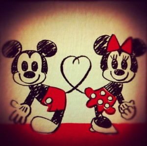 love drawing couple cute disney mickey mouse heart minnie mouse