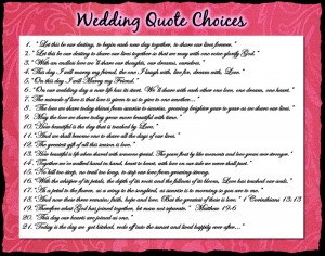 Wedding Quote Choices
