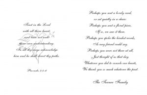 Inside of card may include a poem, or a verse of scripture, or a ...