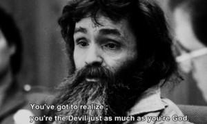 ... good evil realize devil serial killer saint charles manson black&white