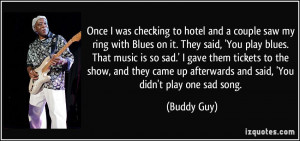 Once I was checking to hotel and a couple saw my ring with Blues on it ...