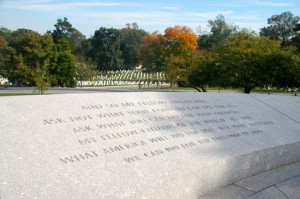 John F. Kennedy's famous quote featured at his grave site.
